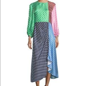 Tibi Dresses - Tibi Delphina Striped Silk Midi Dress Size 0